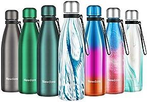 Newdora Bottiglia Acqua in Acciaio Inox 500ml, Tazze da Viaggio, Borraccia Termica Isolamento Sottovuoto a Doppia...