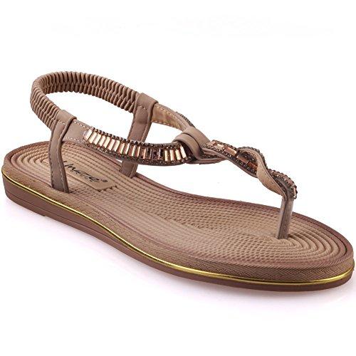 Unze Decorato sandali piani delle donne ' Mayea ' Beige