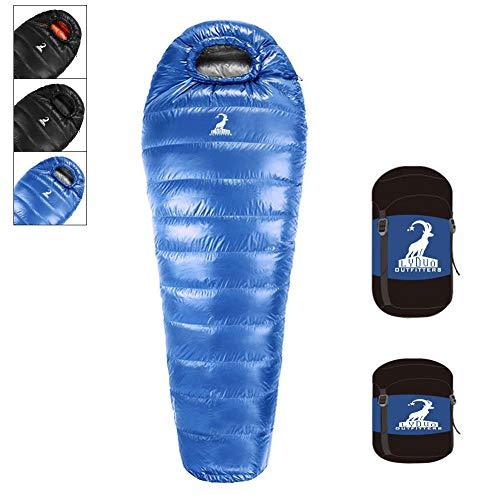 LYDUO Sacco a Pelo Invernale Mummia Invernale Singolo per Adulto, 1200g Piuma D\'Oca 3-4 Stagioni -10℃ Impermeabile Compatto Traspirante per Campeggio e Escursioni, (Blu&Grigio)