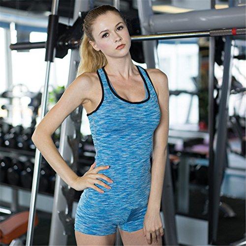 AiJump Donna Tank Top Yoga Canotta Sportivo Elastico Fitness Sport Gym Jogging Allenarsi Blu