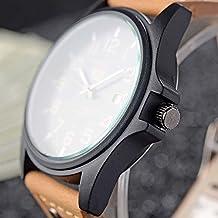 MMRM Moda clásica SOKI deporte hombres reloj correa de cuero de imitación banda de cuarzo reloj de pulsera aire libre - marrón claro