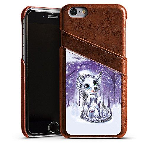 Apple iPhone 4 Housse Étui Silicone Coque Protection Loup Dessin Forêt Étui en cuir marron