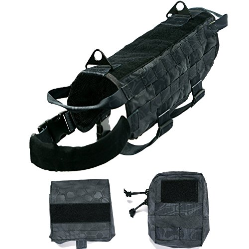 Petcomer Tactical Dog Training Harness Nylon Gepolsterte Satteltasche Military Molle Vest with 2 Detachable Pouches and Pulling Handle (S(Länge 33,5CM), Schwarz)