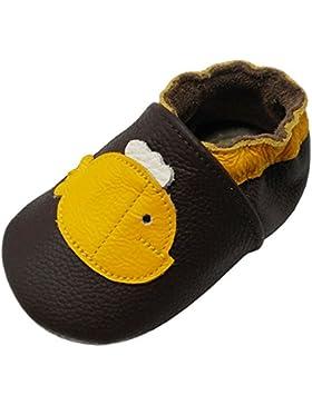 Yalion Baby Weiches Leder Lauflernschuhe Krabbelschuhe Hausschuhe Lederpuschen Wal in 3 Farben erhältlich