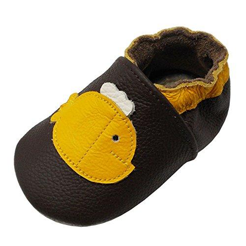 Yalion Baby Weiches Leder Lauflernschuhe Krabbelschuhe Hausschuhe Lederpuschen Wal in 3 Farben Erhältlich (20/21, Dunkelbraun)