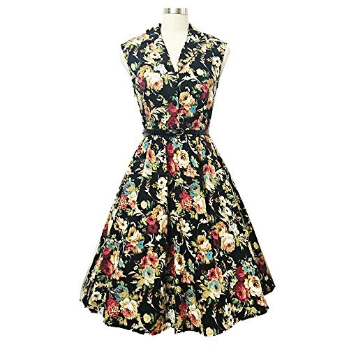 DressLily Vintage Lapel Floral Print Belt A-line Women Dress ab02d1ecb19