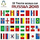 Singhi FIFA-Weltmeisterschaft 2018, 32Länder Seil Flagge nationalen für Sports Club, Bar, große Öffnung Girlande Flaggen (8.5M)
