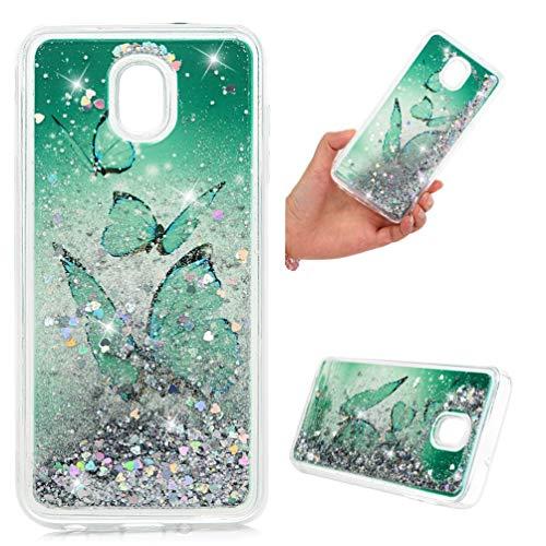 laxy J7 V 2. Generation, klar, flüssig, glitzernd, glitzernd, schimmernd, bewegliche Herzen, stoßdämpfend, TPU, stoßfest, ultradünn, für Samsung Galaxy J7, Schmetterling ()