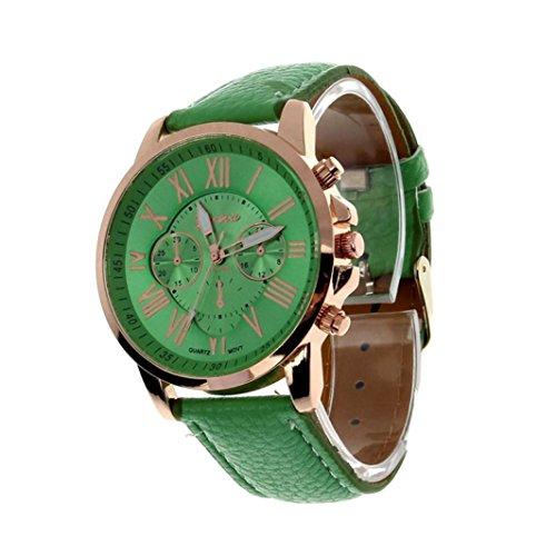 Valentinstag Uhren DELLIN Damenmode Genf römischen Ziffern Kunstleder analoge Quarz-Armbanduhr (Grün)