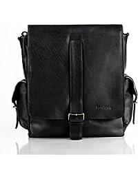 """FEYNSINN sac de messenger ASHTON - grand - sac à bandoulière approprié pour 13"""", iPad - besace noir en cuir véritable"""