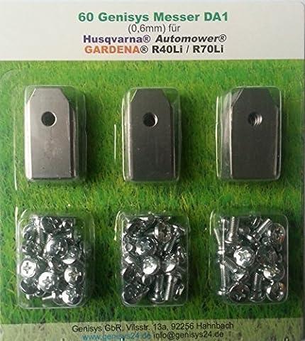 60 Messer (0,6mm) & Schrauben für den Husqvarna Automower und Gardena R40Li/R70Li