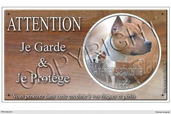 Panneau chien ou plaque American-Staffordshire-Terrier 30 cm