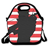 ghodseon Lunch Tasche für Frauen Lunch Bag Lunch Box Food Bag Interessante beliebtes Soldier Black Shadow Stecker Man American Flagge rot und weiß Kreuz Fashion