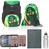 5 Teile Set Lego Outbag Basic Schulranzen Schulrucksack Mäppchen gefüllt + H Heftbox + Flasche (Ninjago Lloyd GARMADON)