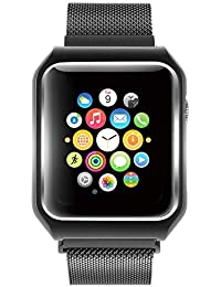 MVPOWER Correa de Apple Watch Banda para Apple Watch Reloj Deportivo con Estuche de Acero Inoxidable con Cierre Magnético sin Hebilla 42MM Color Negro