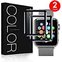 [2 paquetes] Apple Watch 42mm Protector de Pantalla, Cristal Templado, 3D Cobertura Completa, Serie 1 2 3, G-Color … (42mm)