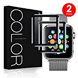 G-Color Apple Watch 42mm Protector de Pantalla, [2 Piezas], Cristal Templado, 3D Cobertura Completa, Serie 1 2 3, Protector Pantalla para Apple Watch 42mm Hermès/Nike+ Edition