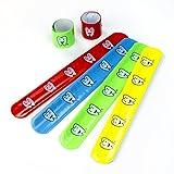 cama24com Lachender Zahn Zähnchen Schnapp-Armbänder Klatsch-Armband 12 Stück Mitgebsel Gastgeschenke mit Palandi® Sticker