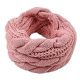 Einfarbiger Loop Schlauchschal, Winter Herbst Warmer Strick Loop Schal, Herren-Schal und Damen-Schal, Unisex (Rosa)