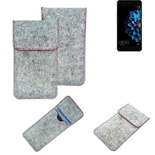 K-S-Trade® Filz Schutz Hülle Für Hisense A2 Schutzhülle Filztasche Pouch Tasche Case Sleeve Handyhülle Filzhülle Hellgrau Roter Rand