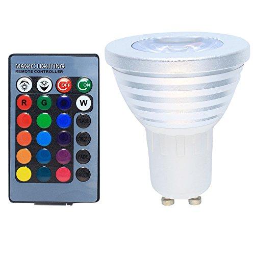 GU10 LED RGB Farbwechsel Lampe 3 Watt mit Fernbedienung Farblicht Lampe Strahler Glühbirne Birne Leuchtmittel Spot AC85-265V