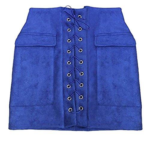 Ghope Jupe Femme en Daim Taille Haute Jupe Sexy Jupe Mini Jupe Crayon Mini Jupe avec Poches et Bandage Bleu