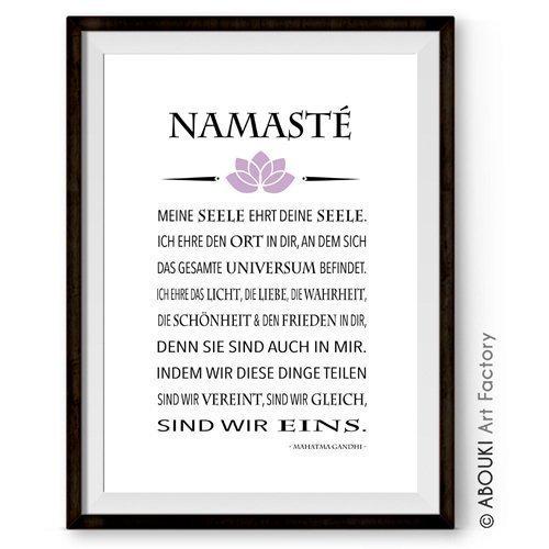 ABOUKI hochwertiger Kunstdruck - ungerahmt - mit Gandhi Zitat 'Namasté', Yoga, Pilates, Poster, Fine-Art-Print, Geschenk, Geschenkidee, Druck,...