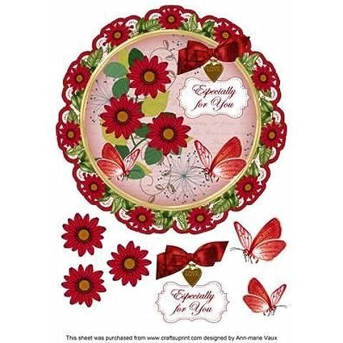 Red Daisy ideali per il Decoupage, 20 cm, motivo: centrino, Topper by Ann Vaux marie
