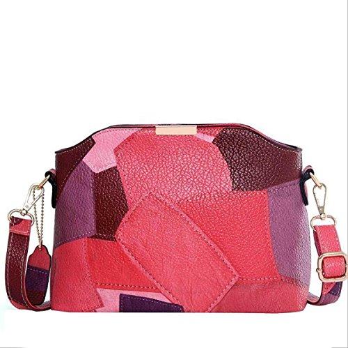 Casual Frauen Schultertasche Messenger Bag Nähen Red
