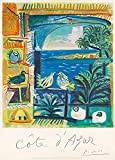 Le Voyage Français Millésime ' CÔTE D'AZUR par PICASSO ' Sur Format A3 Papiers Brillants de 250g. Affiches de Reproduction