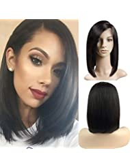 3b56f08895bf Perruque Bresilienne BOB Raie à Côté - Perruque Femme 100% Cheveux Humains Naturels  Remy Raide