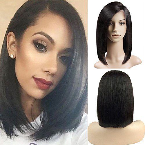 Peluca Bresilienne Bob - Peluca mujer 100% Cabello humanos naturales Remy duro - Lace Front Wig frontal Natural Human Hair