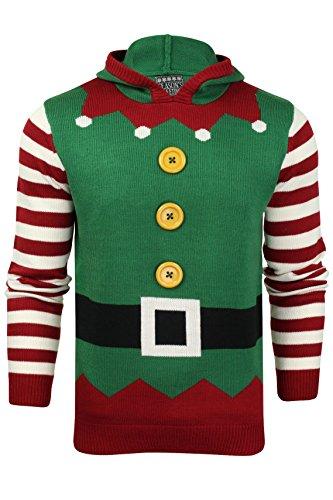 Herren Weihnachts/Xmas Pullover von Seasons Greetings (Elf Suit - Christmas Green) L