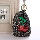 Mini Münzbörse Geldbörse klein weich Münzbörse Trendy Schlüsselanhänger Pailletten Schlüsselanhänger mit Mini Kirsche Münze Geldbörse Modeschmuck, schwarz