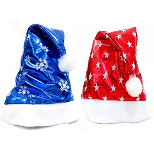BURFLY Weihnachtshut Weihnachtsfest-Sankt-Hut-rote und blaue Kappe für Weihnachtsmann-Kostüm 2PCS (Erwachsene und Kinder, Rot und (Leopard Kostüm Baby)