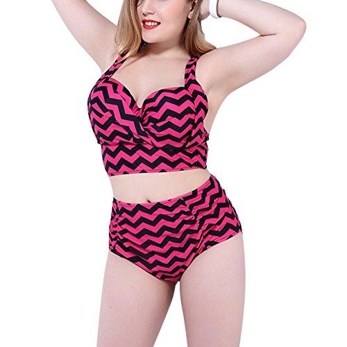 MRSMR Damen Bikini Set Badeanzug Schwimmanzug Badebekleidung Tankini Badekleidung große Größe Saison Muster Rosa
