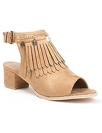 Ideal Shoes - Bottines à franges peep toe ouvertes à l'arrière effet daim Balia