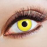 aricona Farblinsen Farbige Kontaktlinse Yellow Neon Nights   – Deckende Jahreslinsen für dunkle und helle Augenfarben ohne Stärke, Farblinsen für Karneval, Fasching, Motto-Partys und Halloween Kostüme