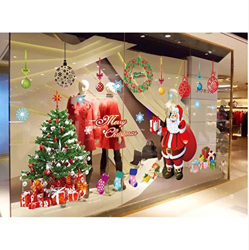 WFYY DREI Generation Abnehmbare Wandaufkleber Cartoon Santa Claus Weihnachtsgeschäften Schlafzimmer dekorative Wandaufkleber -