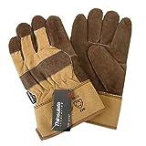 ALASKA, 5-Fg. Arbeitshandschuhe Winter-Handschuhe Rindspaltleder gefütterte thinsulate Isoliervlies | Fahrerhandschuh Sicherheitshandschuhe Braun - Größe: 10