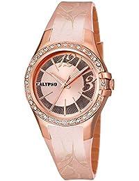 Calypso Watches Armbanduhr Damenuhr Analoguhr 10 ATM mit Glitzersteinchen-Besatz K5624, Farben:rosé