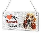 Beenanas Placa de Metal con Texto en inglés Basset Hound Dog I Love My Pet
