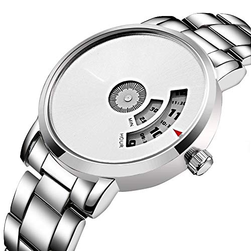 GAO Herren/Damen Alloy Steel Strap Watch Casual Business Plattenspieler Quarzuhr cool (Farbe : White) (Cool Plattenspieler)