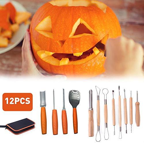 12 STÜCKE Kürbis Carving Kit Edelstahl Carving Kit Manuelle Carving Tool mit Reißverschlusstasche Gravur Papier