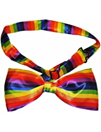 NEW LUXURY PRE TIED ADJUSTABLE SILKY SATIN RAINBOW BOW TIE **SAME DAY POSTING**