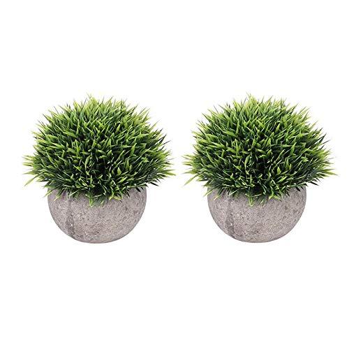 WINOMO 2 pcs Mini Plastique Faux imitation Herbe verte Simulation plantes artificielles avec pots pour décoration de maison