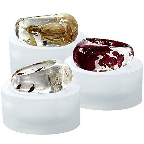 musykrafties Boho Kunstharz Ring Silikonform für Liquid Clay, Harz, Epoxy, Schmuckherstellung flach Oval Dome Flat 17mm 16.6mm 16mm Ring Size 13-14 12-13 10-11 (Band Anhänger Federn)
