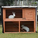 Sunsbell 4FT Rabbit Hutch Cover Double Hutch, Universal Waterproof Dustcover Cage for the winter for Bunny