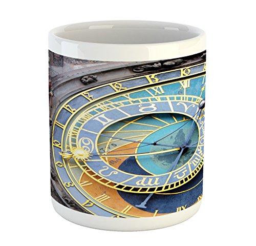 Ambesonne Clock Tasse, Prag, Astronomische Uhr in der Altstadt, EIN europäisches mittelalterliches Wahrzeichen der Stadt, Bedruckte Keramik Kaffeetasse Wasser Tee Getränke Tasse, blau und gelb