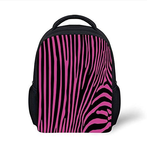 Kids School Backpack Zebra Print,Zebra Pattern Print Wild Animal Skin Style Decorative Stylized Illustration,Fuchsia Black Plain Bookbag Travel Daypack Wild One Black Zebra